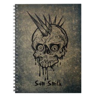 Caderno Espiral Crânio personalizado do punk de //