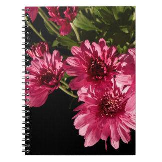 Caderno Espiral Crisântemos cor-de-rosa