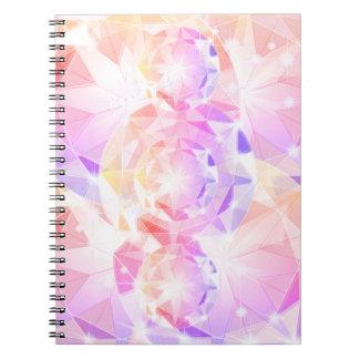 Caderno Espiral Cristal de rocha cor-de-rosa do compasso da