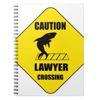 Caderno Espiral Cruzamento do advogado com tubarão