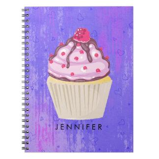 Caderno Espiral Cupcake doce com a framboesa na parte superior