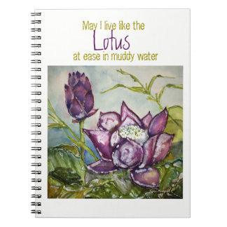 Caderno espiral da aguarela de Lotus da inspiração