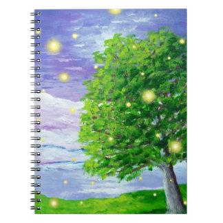 Caderno espiral da arte da paisagem do vaga-lume