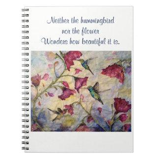 Caderno espiral da arte do colibri da inspiração