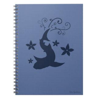 Caderno espiral da arte floral do vetor do tubarão