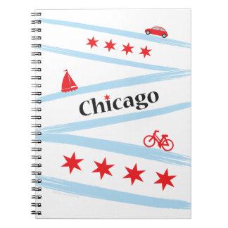 Caderno espiral da bandeira de Chicago