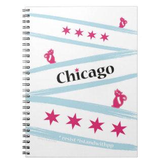 Caderno espiral da bandeira de Chicago com os
