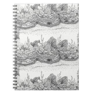 Caderno espiral da ilustração da tinta do recife