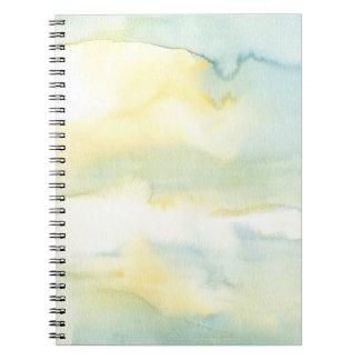 Caderno espiral da lavagem azul & verde do