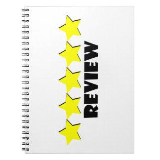 caderno espiral da revisão de cinco estrelas