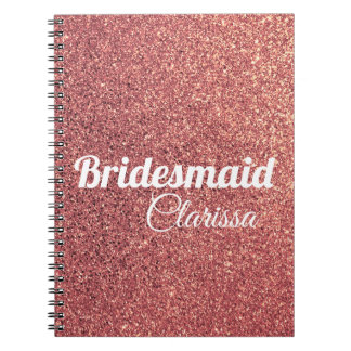 Caderno Espiral dama de honra cor-de-rosa do brilho do ouro do