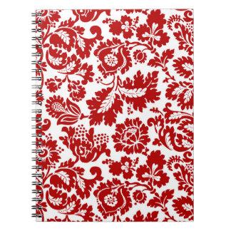Caderno Espiral Damasco floral de William Morris, vermelho escuro