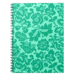Caderno Espiral Damasco floral, turquesa e Aqua de William Morris