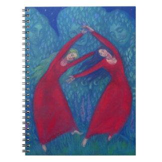 Caderno Espiral Dança das bruxas, pintura pastel, arte da fantasia