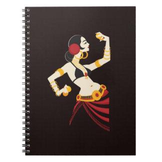 Caderno Espiral dançarino de barriga tribal da fusão com pratos