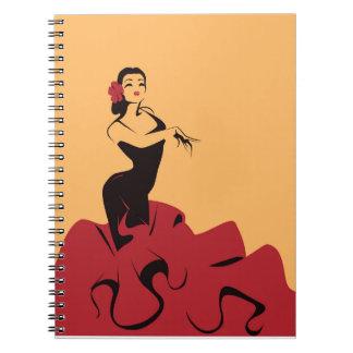 Caderno Espiral dançarino do flamenco em uma pose espectacular