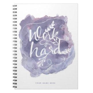 Caderno espiral das citações duras roxas do