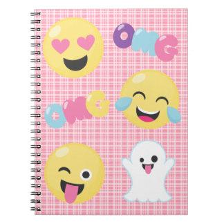 Caderno espiral das emoções cor-de-rosa de Emoji