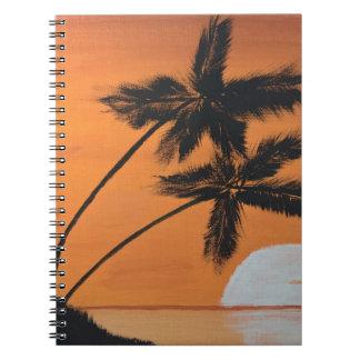 Caderno espiral das palmas do por do sol