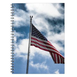 Caderno espiral de bandeira americana