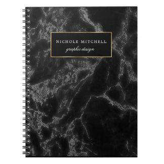 Caderno espiral de mármore preto