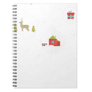 Caderno Espiral decorativo-Natal-bola-suspensão