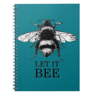 Caderno Espiral Deixado o a natureza do vintage da abelha Bumble a