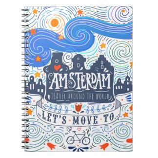 Caderno Espiral Deixe-nos mover-se para Amsterdão