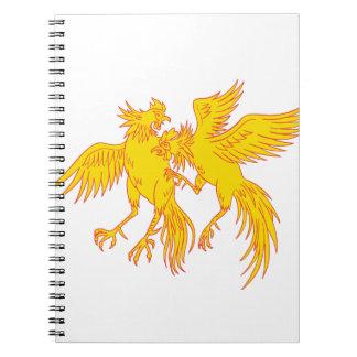 Caderno Espiral Desenho do galo novo dos galos do Cockfighting