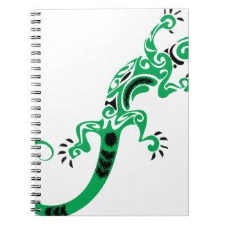 Caderno Espiral Desenho do lagarto verde