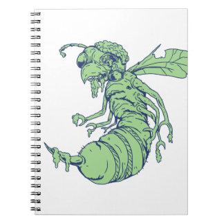 Caderno Espiral Desenhos animados da abelha do zombi