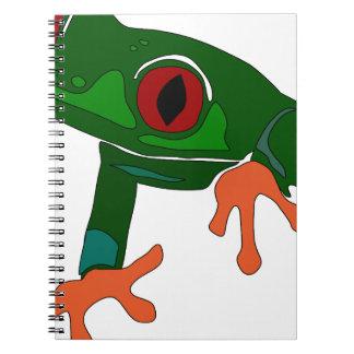 Caderno Espiral Desenhos animados do sapo verde