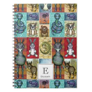 Caderno Espiral Design animal bonito da arte popular da colagem