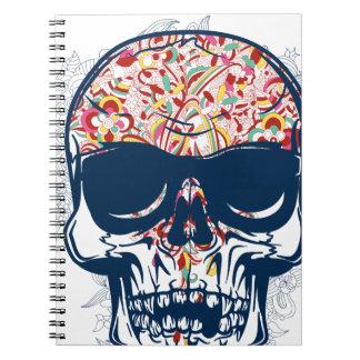 Caderno Espiral design colorido do crânio zombi inoperante