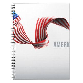 Caderno Espiral Design da fita da bandeira americana