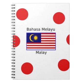 Caderno Espiral Design da língua da bandeira e do Malay de