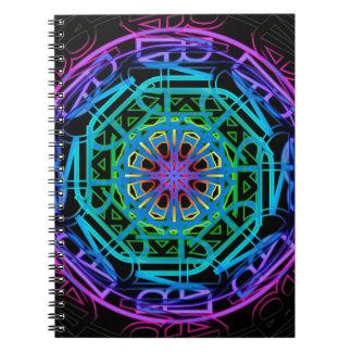 Caderno Espiral Design da mandala das luzes de néon