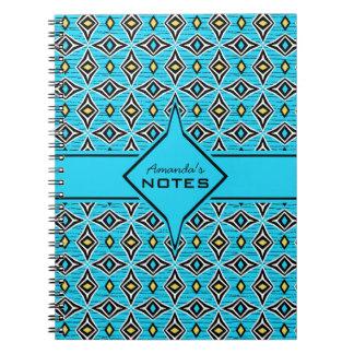 Caderno Espiral Design dado forma do estilo diamante amarelo azul
