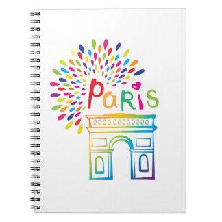 Caderno Espiral Design de néon de Paris France | Arco do Triunfo |