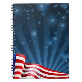 Caderno Espiral Design do fundo da bandeira americana