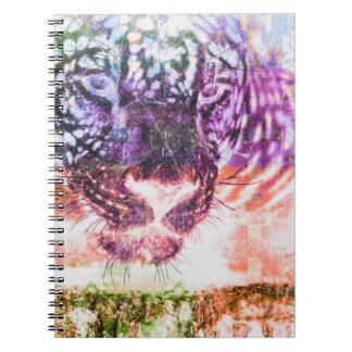 Caderno Espiral Design do gato de Jaguar do arco-íris
