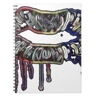 Caderno Espiral Design dos lábios do arco-íris