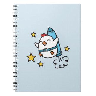 Caderno Espiral Design engraçado da galinha de Jetpack