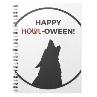 Caderno Espiral Design feliz do Dia das Bruxas do homem-lobo do