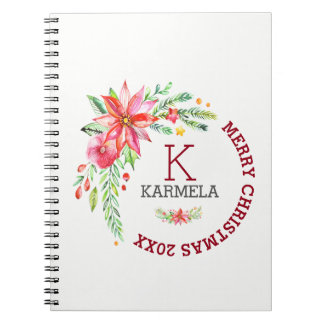Caderno Espiral Design floral do buquê das flores do Feliz Natal