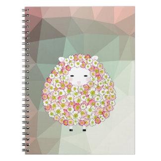 Caderno Espiral Design florido dos carneiros do tom Pastel