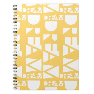 Caderno Espiral Design geométrico ideal amarelo do entalhe