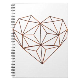 Caderno Espiral design oxidação-geométrico do coração