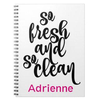 Caderno Espiral Design preto & branco tão limpo tão fresco