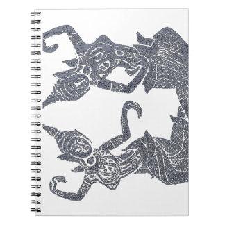 Caderno Espiral Design tailandês da fricção do templo do jornal